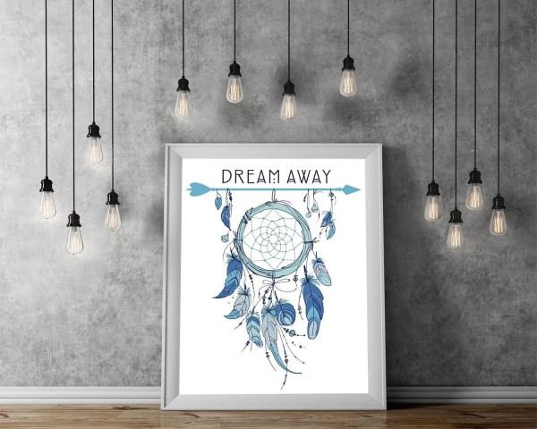 Wall Art Print of a Blue Dream Catcher