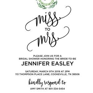 Greenery Bridal Shower Invitation