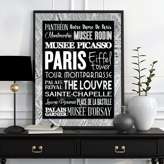 Black and White Paris Typography