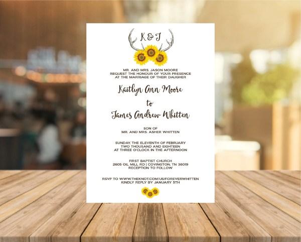 Sun Flower Theme Wedding Invitation
