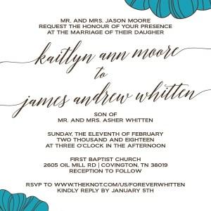 Teal Flowers Wedding Invitation