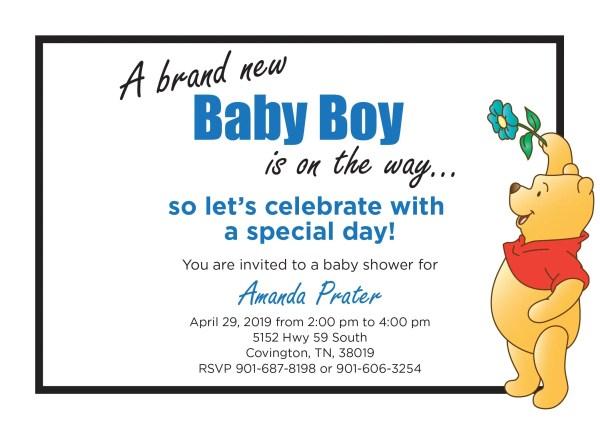 Winnie Pooh Baby Shower Invitation