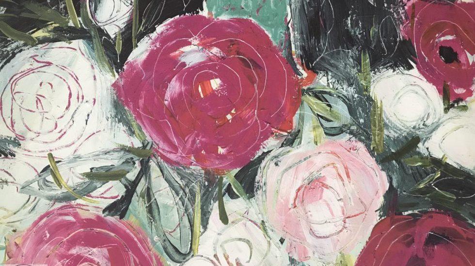flower canvas, deep pink, green