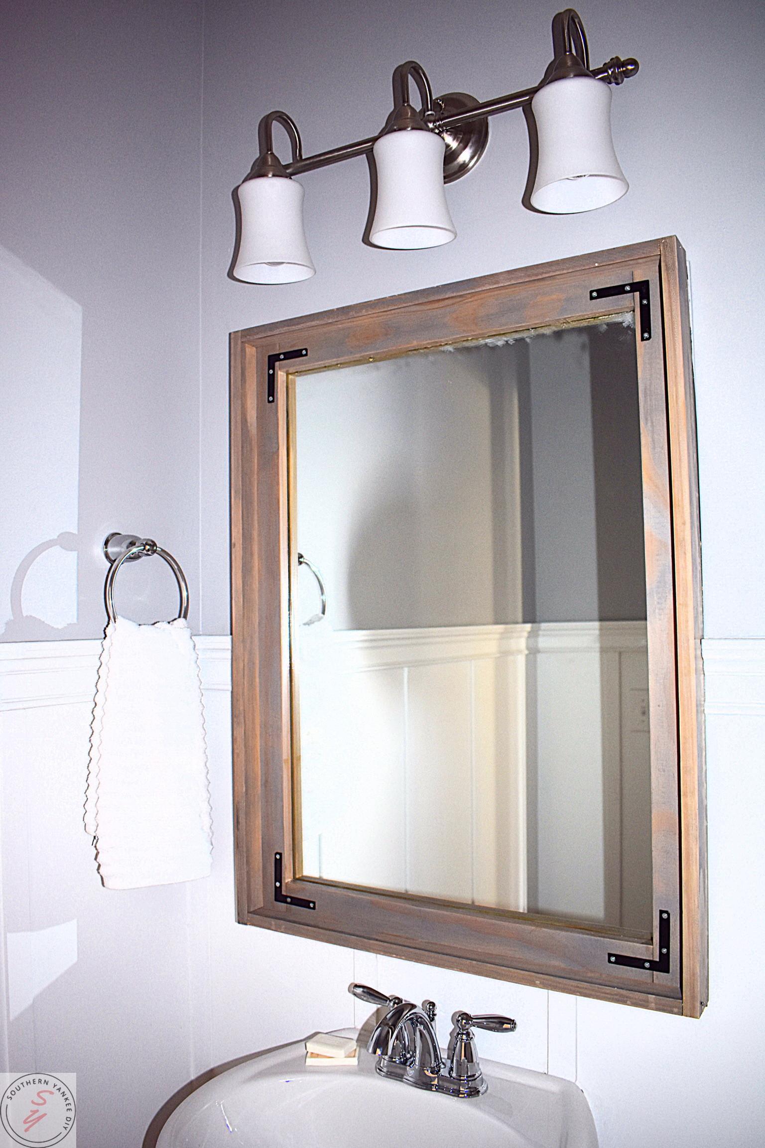 Framing a Builder Grade Mirror ~ Southern Yankee DIY