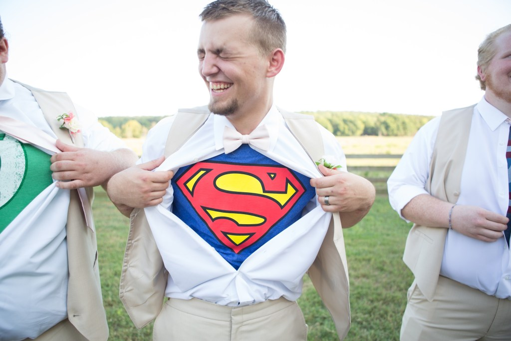 wedding photo, superman shirt underneath tux