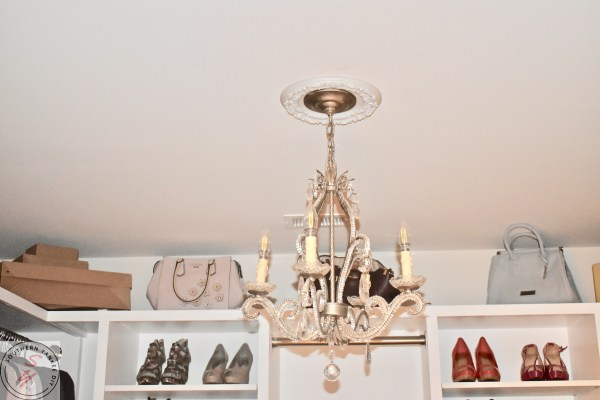 fancy chandelier, crystals, diamonds in walk in closet glam farmhouse