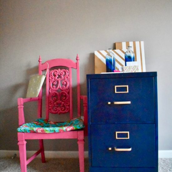File Cabinet Makeover-Pink chair