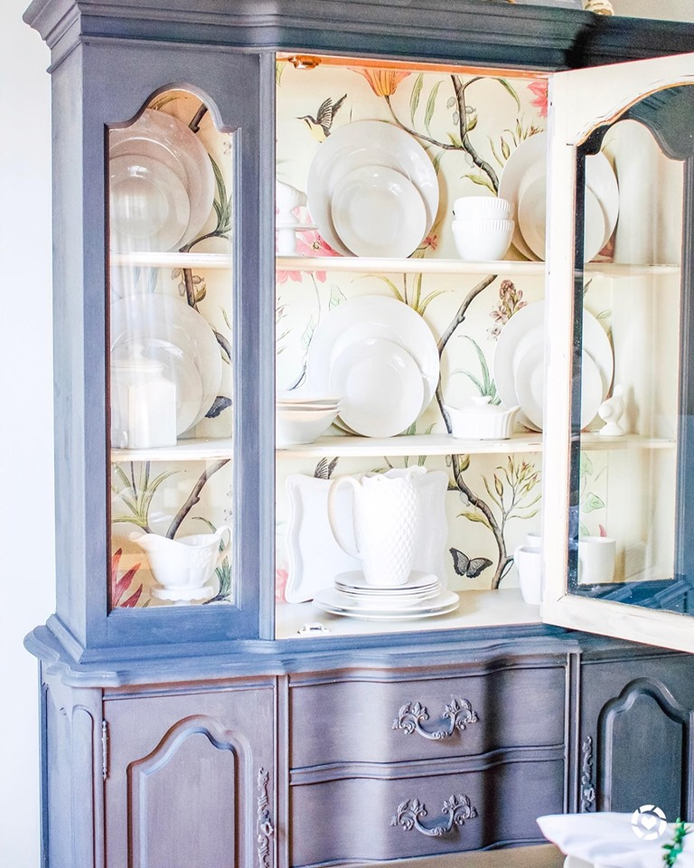 China Cabinet Makeover, wallpaper, furniture update, prints, furniture makeover