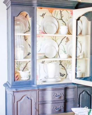 China Cabinet Makeover, wallpaper, furniture update, prints, furniture makeover, chalk paint