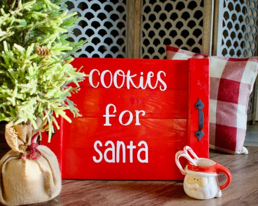 cookies for santa tray, santa tray, dear santa cookie tray, cookie svg, cookie tray, cookies for santa svg, Christmas platter for cookies, large Christmas cookie platter, Deck the halls, at home DIY, Santa cookie tray, diy, diy wood tray, Christmas decor, Christmas craft, rust oleum, scrap wood diy, project, scrap wood project, holiday decor, 2 hour project
