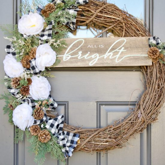 christmas, Christmas wreath, door decor, floral wreath, winter wreath, winter, Christmas front door decor, holiday wreath, neutral wreath, neutral Christmas wreath, diy, diy home challenge