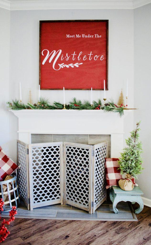 Christmas Sign, Deck the halls challenge, diy, wood sign, large sign, large Christmas sign, holiday decor, Christmas decor, Christmas mantle decor, Christmas mantle.