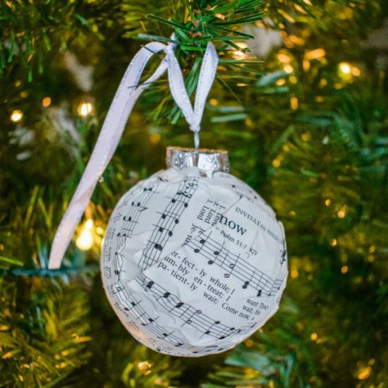christmas, Christmas ornaments, DIY, DIY Christmas ornaments, ornaments, hymnal ornaments, music diy, Christmas tree, dollar store, dollar store diy, dollar store decor, dollar store ornaments, dollar tree ornaments, dollar tree diy