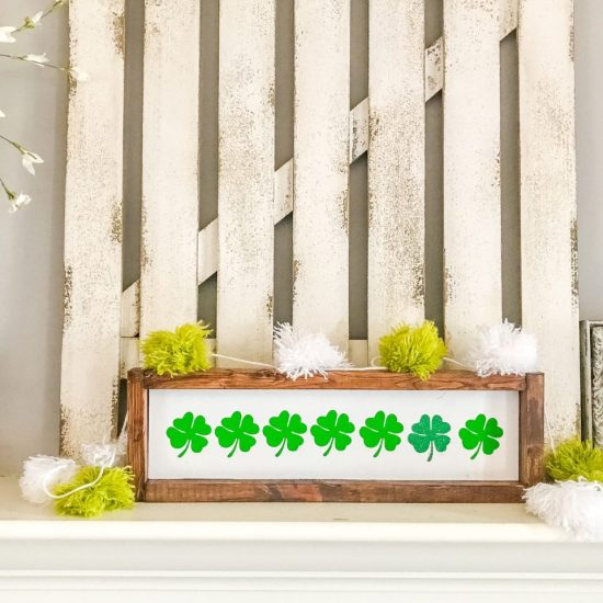 st patricks day, pom pom garland, yarn project, cricut project, wood sign, farmhouse decor, seasonal decor, st patricks day farmhouse decor, farmhouse decor, pom pom, diy pom poms