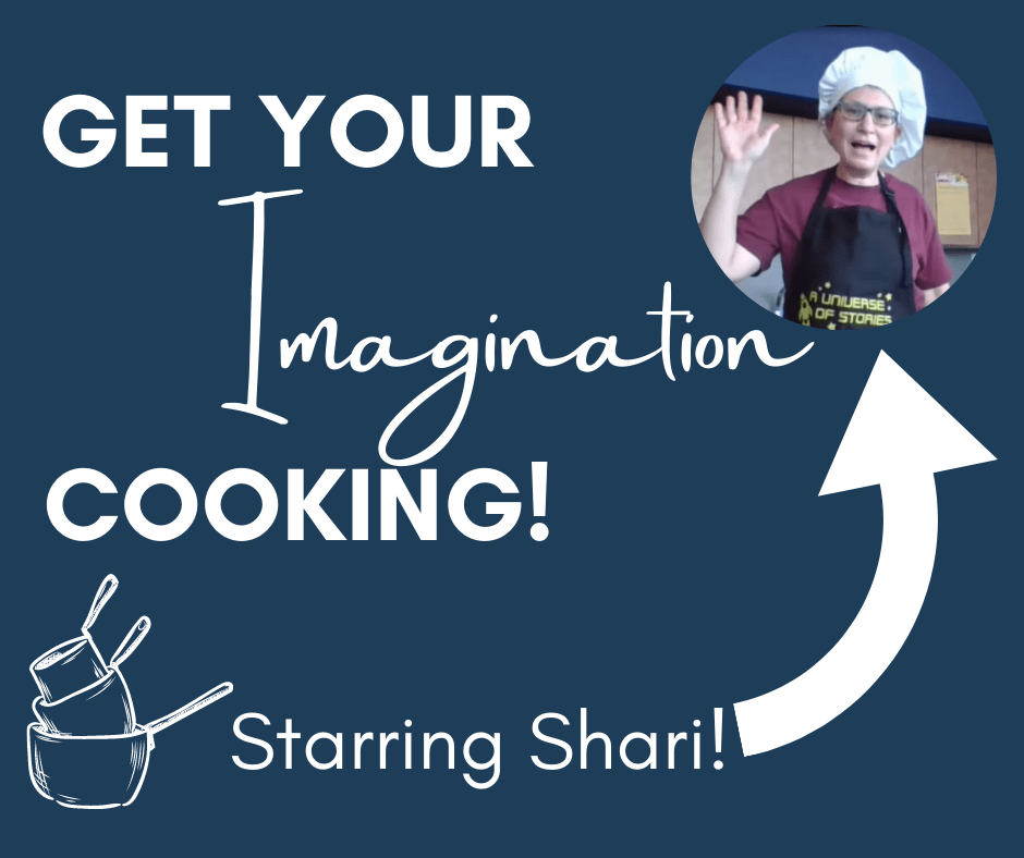 Get Your Imagination Cooking Starring Shari is written on the graphic with the portrait of a smiling and waving chef