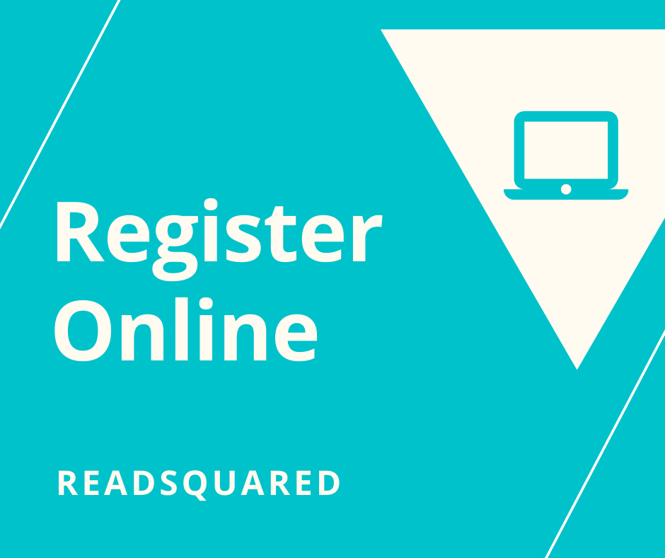 Blue background with white triangle and a computer with the words Register Online READsquared