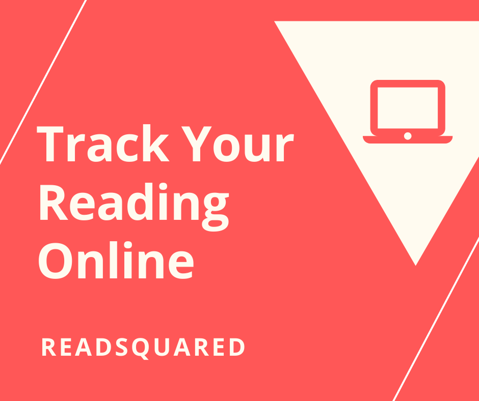 Coral colored background with white triangle and a picture of a computer with the words Track Your Reading Online READsquared