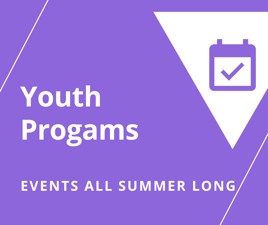 Purple background with white triangle and a picture of a small calendar event with the words Youth Programs events all summer longer