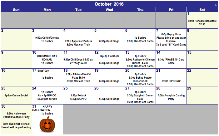 2016 October Calendar South 40 RV Ranch