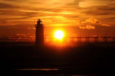 Lake Michigan Sunset over Lighthouse