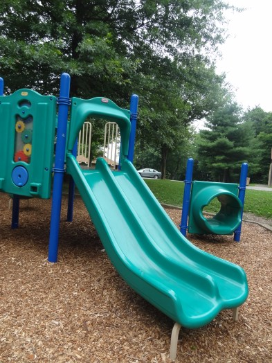 Toddler playground, double slide