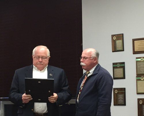 Councilman Ray Bider presents a Proclamation to Pastor Vince Kovlak of Bellmawr Baptist Church.