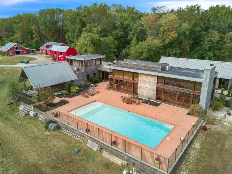 350 Mannington Yorketown Road aerial of pool