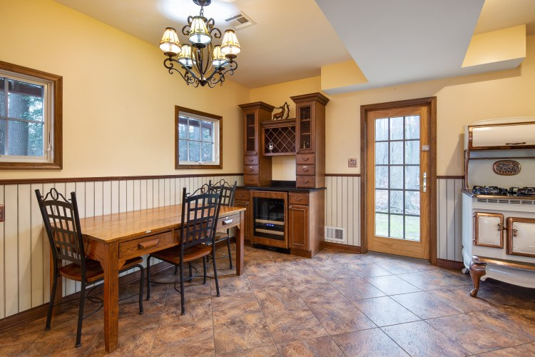 Kitchen showing dining area and wine bar.