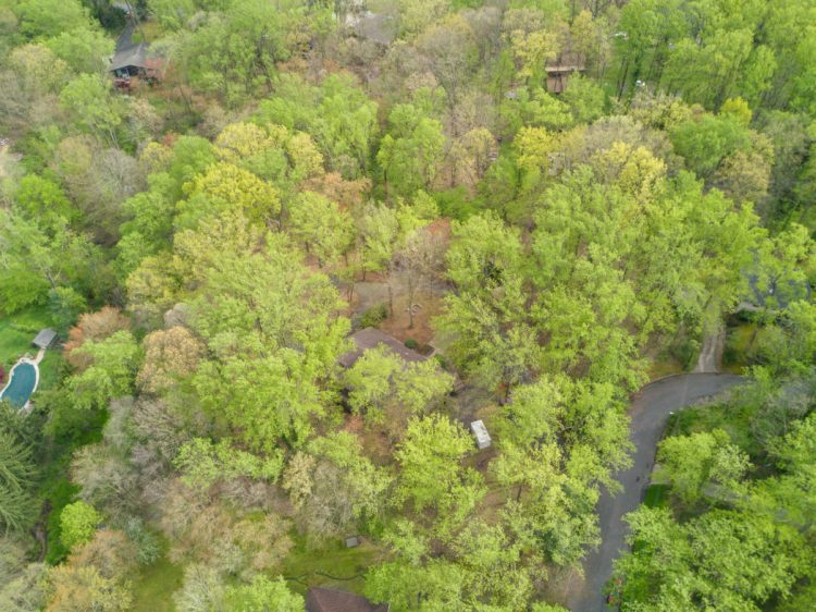 Aerial view of the 3.1 Acre lot at 15 Springhill Road Mantua