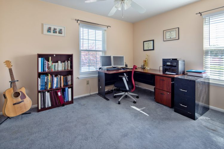 Bedroom furnished as an office
