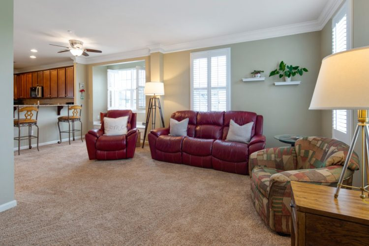 Family room with crown molding at 460 N Palace Drive