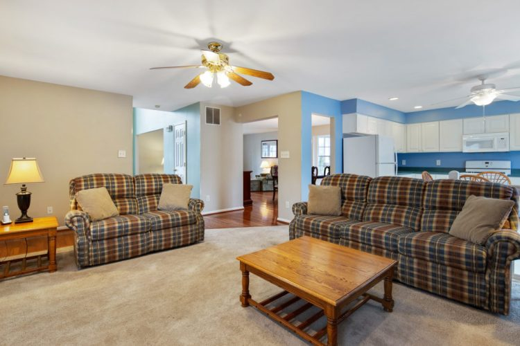 Family room is open to the kitchen.