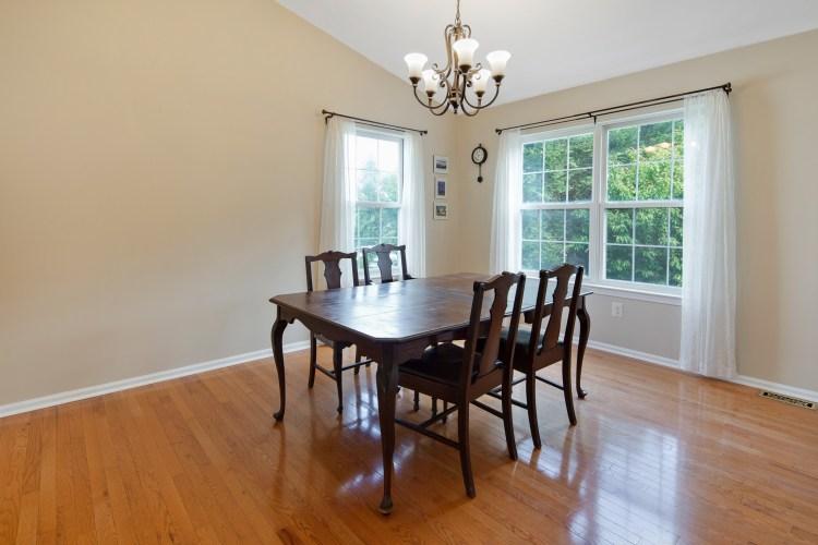 Dining area overlooks lving room