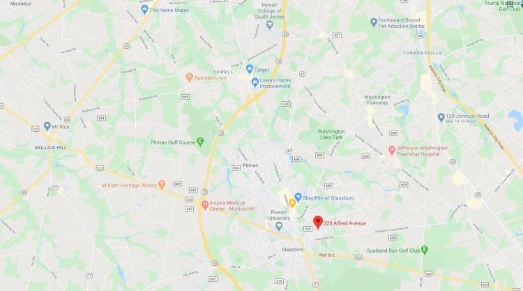 Large scale map location of 320 Alfred Avenue Glassboro, NJ