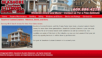 South Jersey website Launches Site for eashore Custom Exteriors