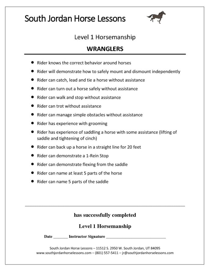 Horsemanship Levels of Progression