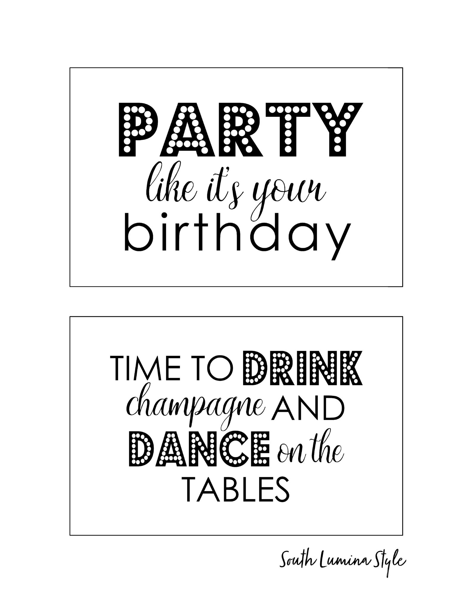 image about Printable Birthday Signs named South Lumina Layout Do-it-yourself Printable Grownup Birthday Indications celebration