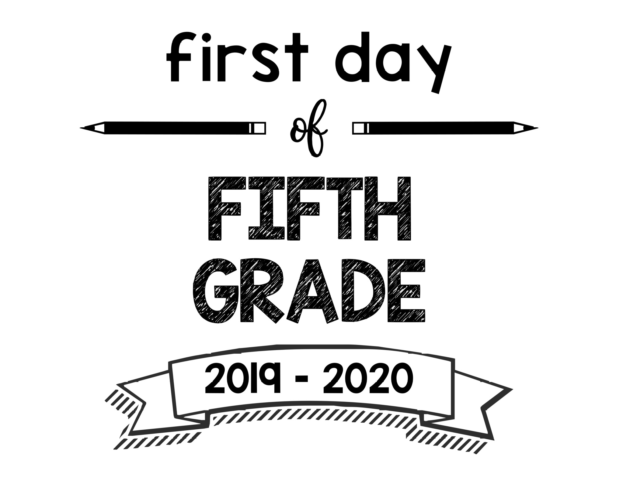 image relating to First Day of 5th Grade Printable identify To start with Working day of Higher education Printable Indicators 2019 - 2020 College 12 months