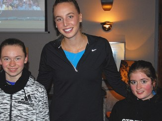 Naomi Broady with young Albert stars Olivia Gibson (left) and Alice Kennedy