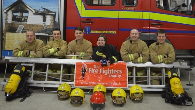 Left to Right, firefighters Paul Leigh, Dominic Page and Robert Carney with cadet leader Becky Naylor and firefighters Mark Wakefield and Ashley Powell.