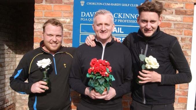 Adam Hodkinson and Will Hawksworth with Dave Mackinnon (centre)