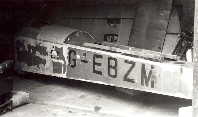 The dismantled aircraft, G-EBZM