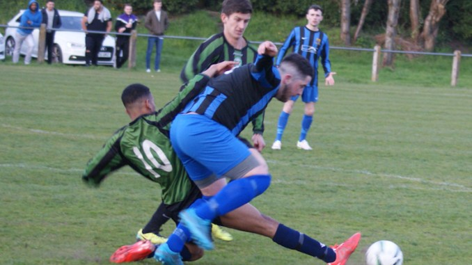 Whitehead Cup final between Chorltonians Town (Green and black) and Tintwistle Athletic thirds