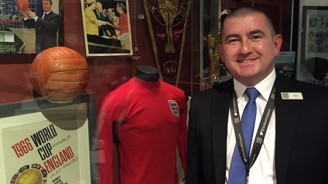 Dave Scally with the 1966 World Cup display at the National Football Museum