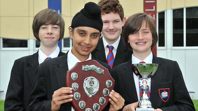 St Antony's Catholic College Boys' Brigade award winners Joshua, Akaaljop, Tommy and Max