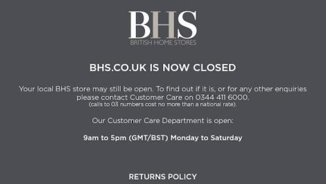 The BHS website is already closed for business