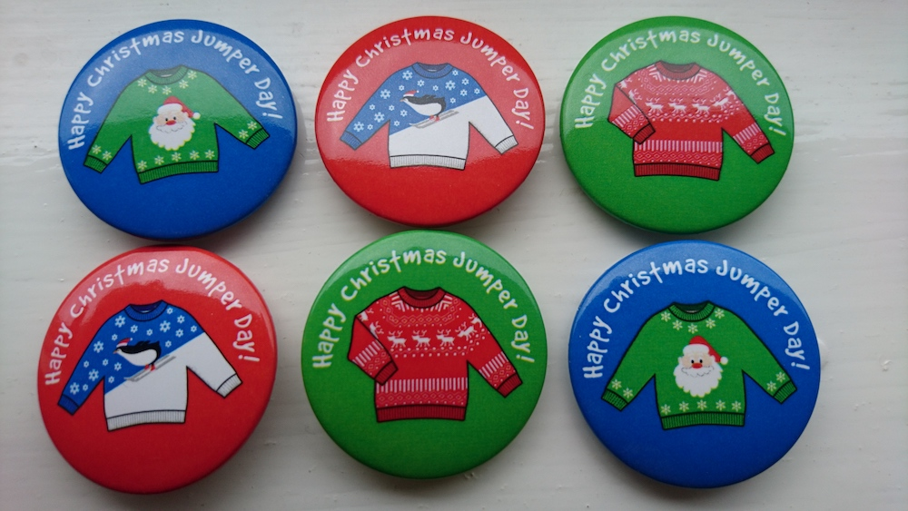 Badges that people can wear f Christmas jumpers are not permitted