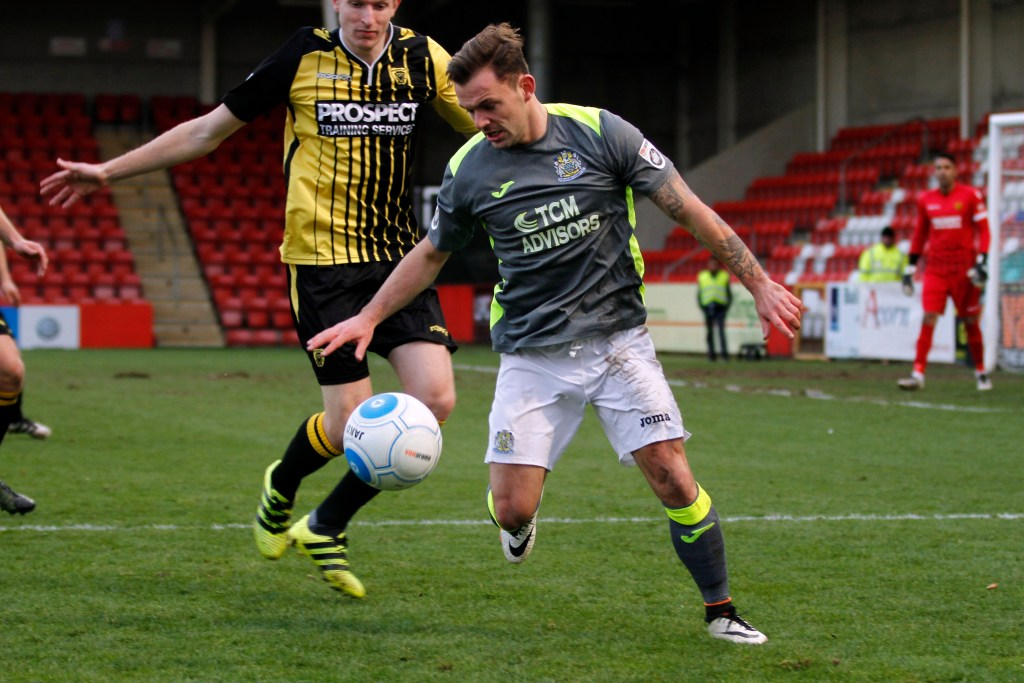 Danny Lloyd on the ball for Stockport, as they beat Gloucester 1-0