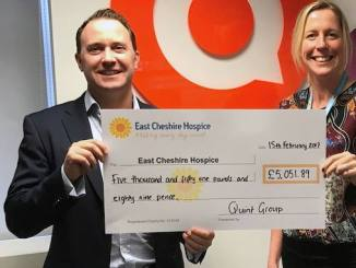 Quint Group handed over more than £5,000 for East Cheshire Hospice