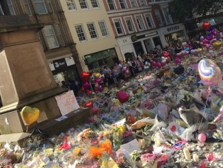 Floral tributes to the Manchester Arena bob victims in St Ann's Square
